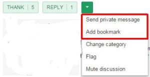 dropdown display for adding a bookmark or sending a private message on NextDoor